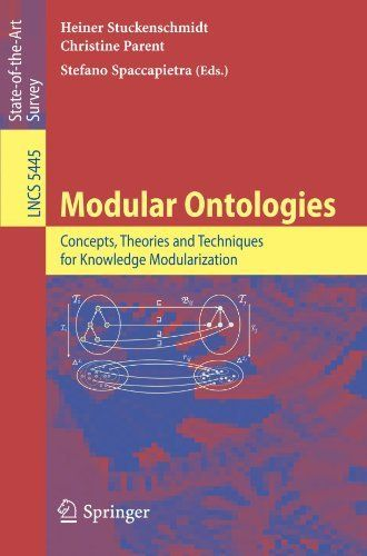 Modular Ontologies: Concepts, Theories and Techniques for Knowledge Modularization (Lecture Notes in Computer Science / Theoretical Computer Science and General Issues) by Heiner Stuckenschmidt. $79.95. Edition - 2009. Publisher: Springer; 2009 edition (June 30, 2009). Publication: June 30, 2009