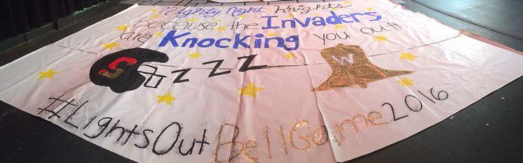 Night night knights lights our cheer cheerleading run through signs football run throughs sign