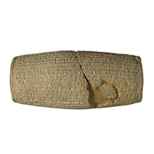 This clay cylinder is inscribed in Babylonian cuneiform with an account by Cyrus, king of Persia (559-530 BC) of his conquest of Babylon in 539 BC and capture of Nabonidus, the last Babylonian king. This cylinder has sometimes been described as the 'first charter of human rights'.
