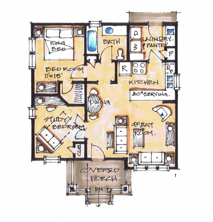 Pea Pod- living room/ kitchen/ dining/ 1 bedroom/ 1 bathroom+ studio/ laundry/ covered porch
