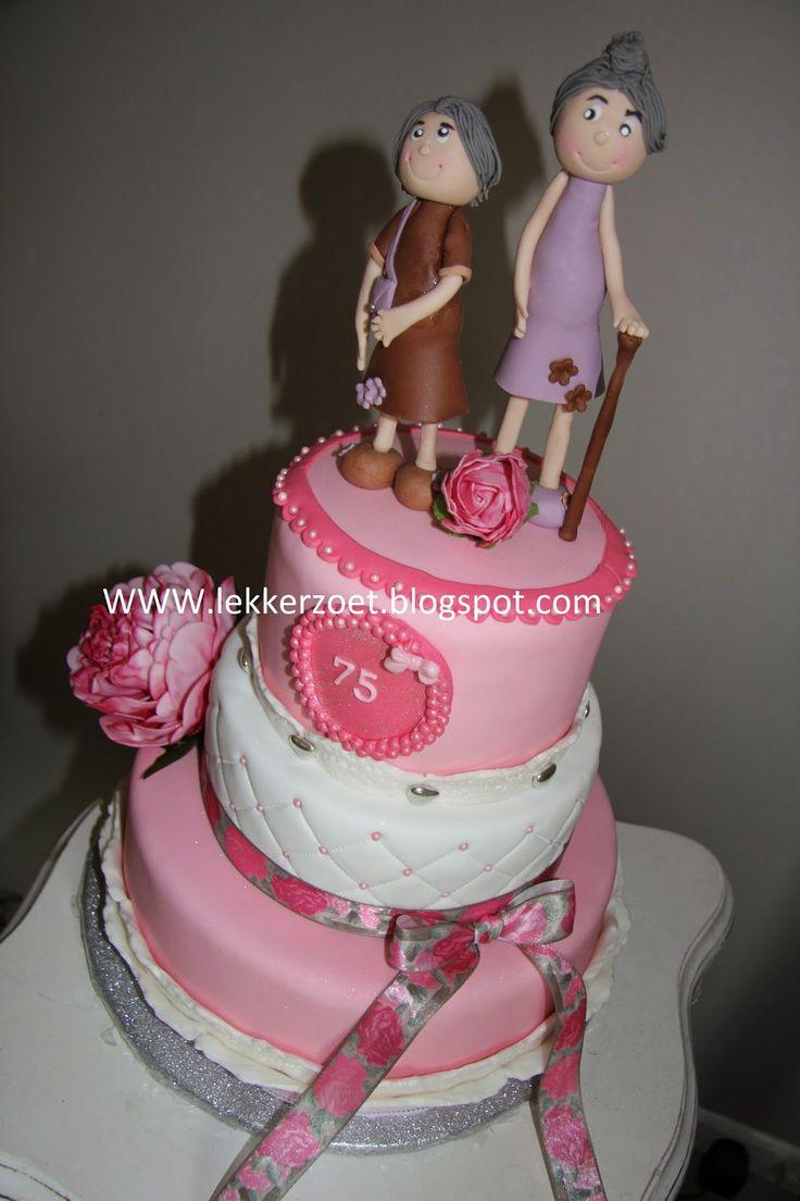 lekker zoet: Tweeling taart ...vandaag 75 jaar!