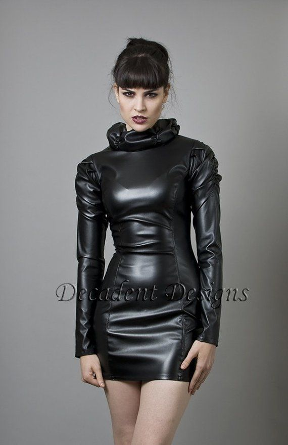 THE FEDERATION FAUX LEATHER ZIP  FRONT DRESS ALL SIZES  PLUS SIZES