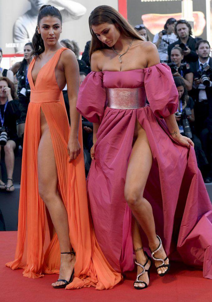 Italian Models Giulia Salemi and Dayane Mello               The girls both suffered wardrobe malfunctions