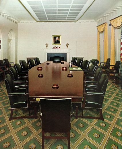 The final Kennedy Cabinet Room in 1963, by Stéphane Boudin (White House Historical Association)