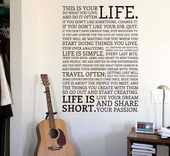 Wall Art Decal  This is your life