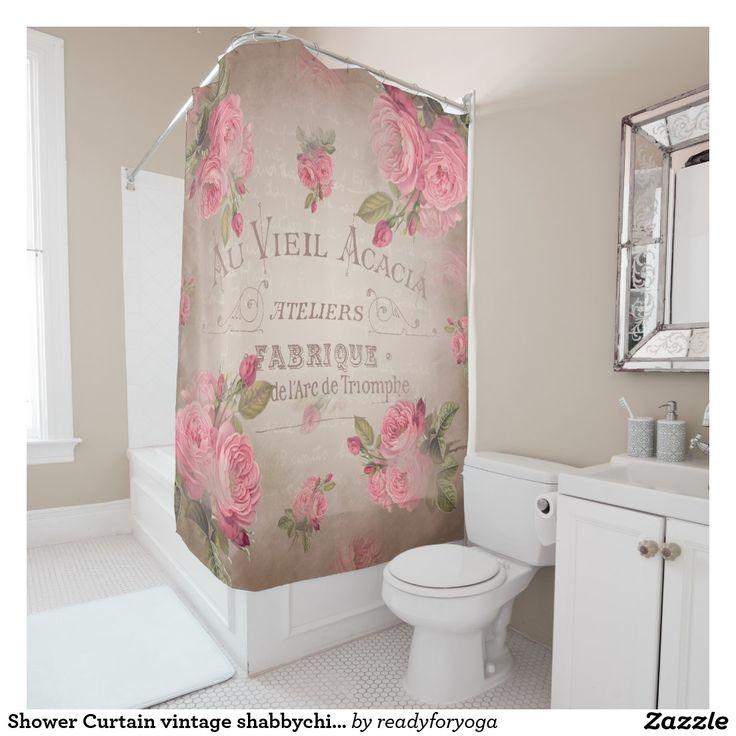 Shower Curtain vintage shabbychic french rose