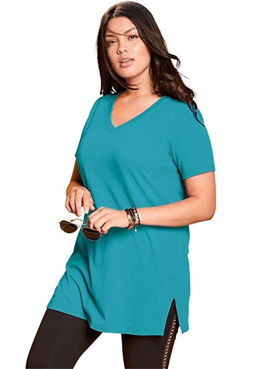 a8fddb2c8da0e Roamans Women s Plus Size V-Neck Maxi Tunic - Coral Red