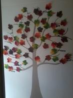 verjaardag boom op de muur in herfst sfeer