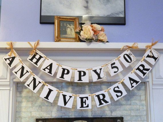 Happy Anniversary Banner Silver Anniversary Party Prop Golden Anniversary Decoration 25th or 40th or 50th You Pick the Colors