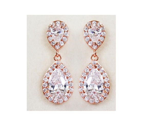 Check out Rose Gold Bridal Earrings, Crystal Tear Drop Earrings,  Bridal Jewelry Rose Gold CZ Wedding Earrings - Hannah Earrings on wearableartz