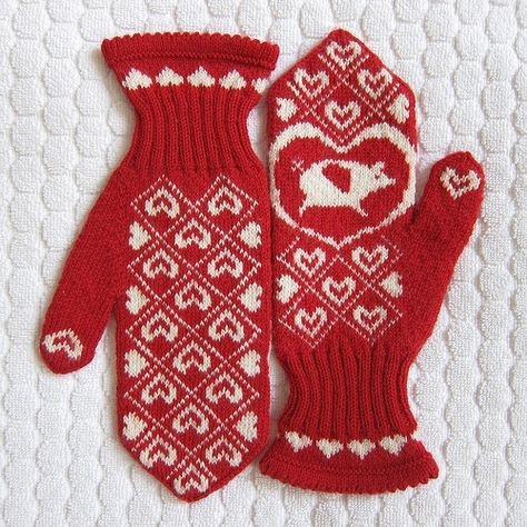 Just Crafty Enough – Project: Knit Flying Pig Mittens  free knit pattern mittens