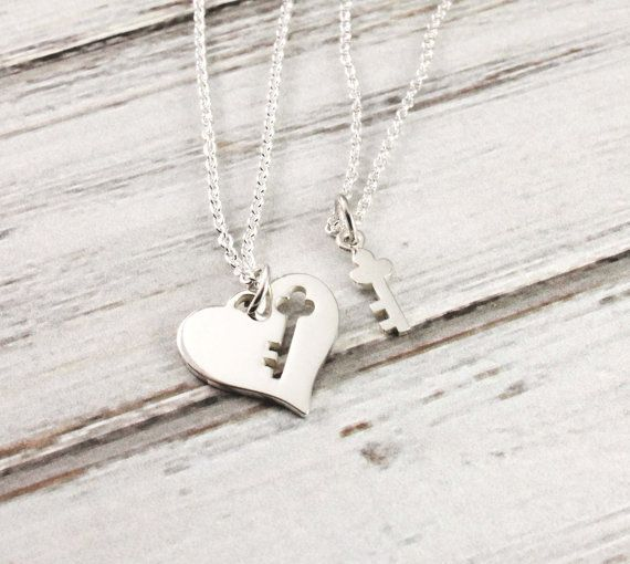 Heart and key - Mother and daughter necklace set - Sterling silver necklace set - Mom and Daughter Jewelry - Gift for mom - Mother's Day