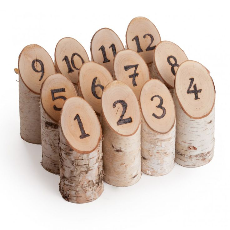 Natural Birch Woodburned Table Numbers (Set of 12) [Birch Woodburned Table Number] : Wholesale Wedding Supplies, Discount Wedding Favors, Party Favors, and Bulk Event Supplies