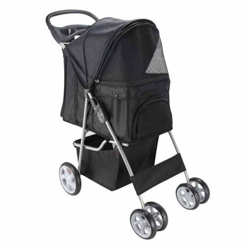 4 Wheel Walk Dog Cat Stroller Travel With Folding Carrier