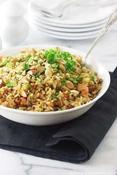 This recipe for sprouted brown rice pilaf is cooked in chicken stock and flavored with onions garlic and carrots. We chose cumin and cinnamon for the spices and some toasted whole almonds for a little crunch.