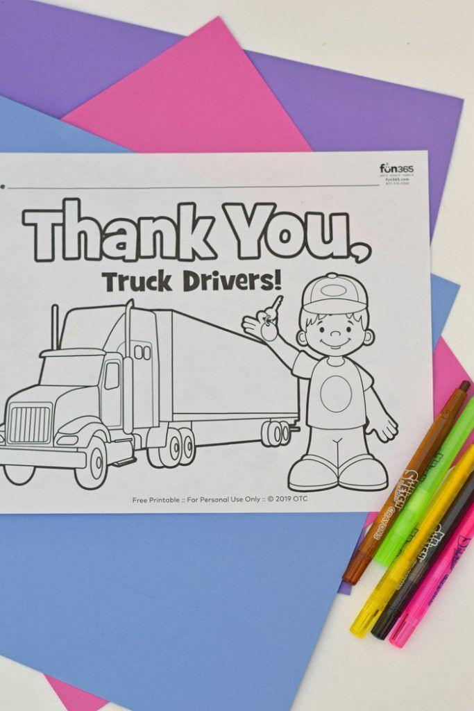 Thank You Truck Drivers Coloring Page In 2020 Coloring Sheets For Kids Community Helper Coloring Pages