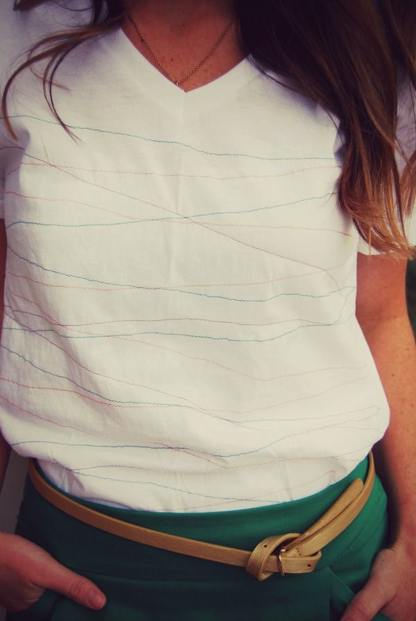 simple refashion: sew thin colored stripes on white t-shirt