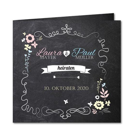 Einladungskarte Hochzeit Schiefertafel und Blümchen  (R-3938)