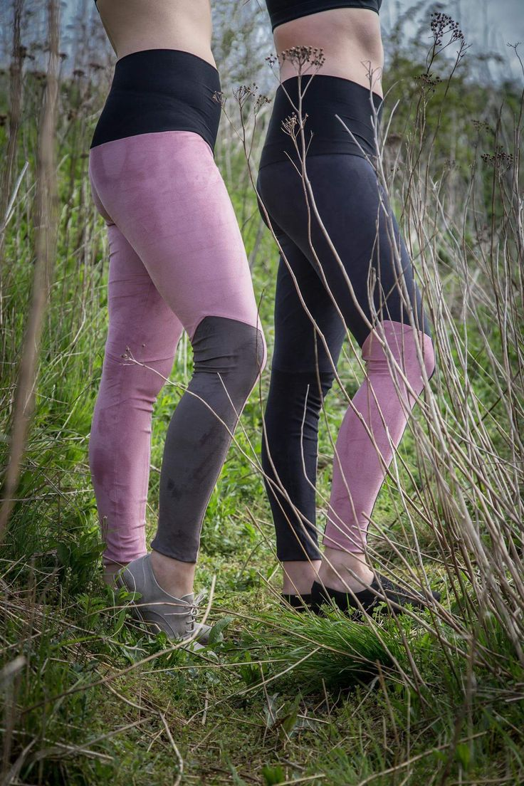 Black and pink/  pink and brown faux suede pants with shape controle by barabara.