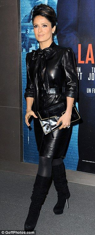 Lady in leather: Salma Hayek has worn a number of leather outfits in the part, in Venice in late May and in Paris in 2012