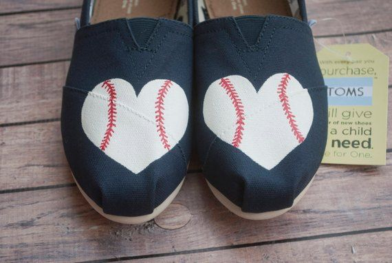 a0a2e6b1e84de Baseball Hearts Women's Painted TOMS in 2019   Caity & Co.   Painted ...