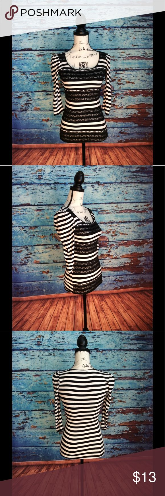 Black and white stripped long sleeve top In great condition black and white stripped long sleeve top White House Black Market Tops Blouses