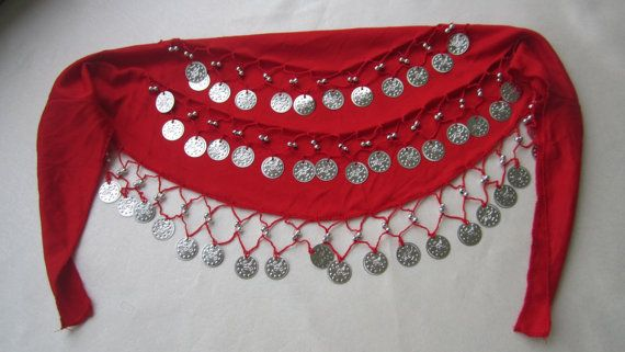Rave EDC red Silver Coıns Belly Dance Hip Scarf Skirt by selshe