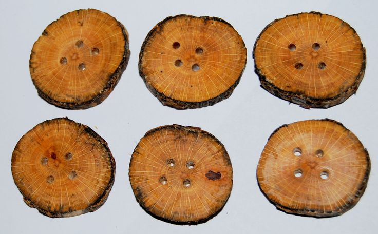 6 wooden buttons 1 inch or 2,5 cm spalted beech rustic woodland style by Scandicreations on Etsy