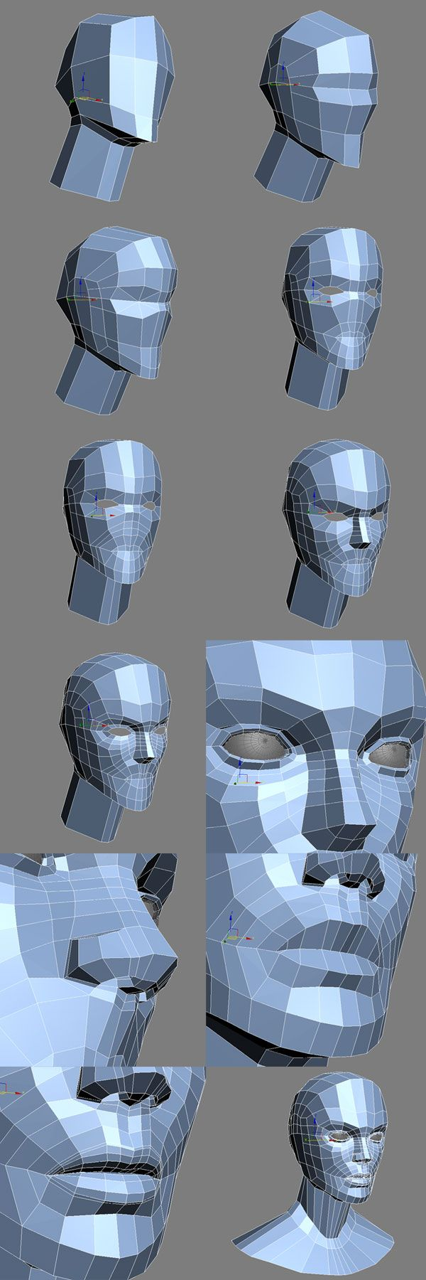 230 best images about 3d topology edge flow on pinterest for 3ds max face modeling