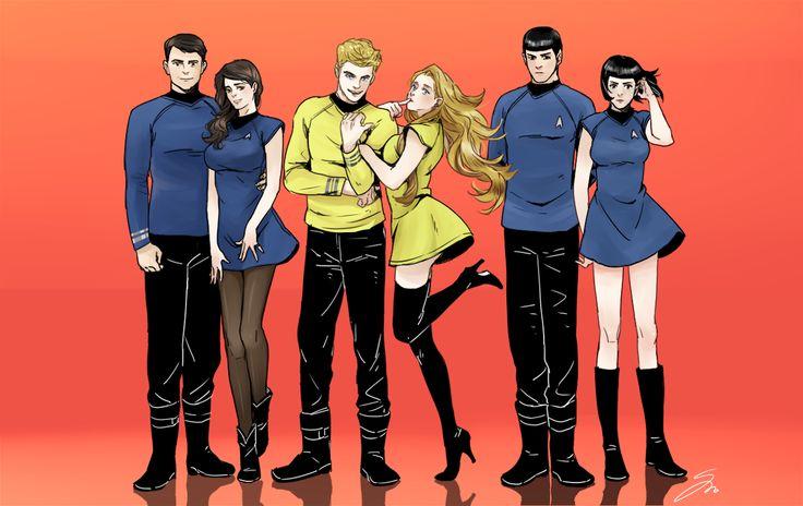 Bones, Kirk, and Spock and their genderbends!