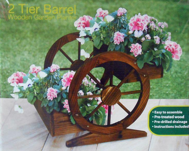 2 tier barrel wooden garden planter great gift