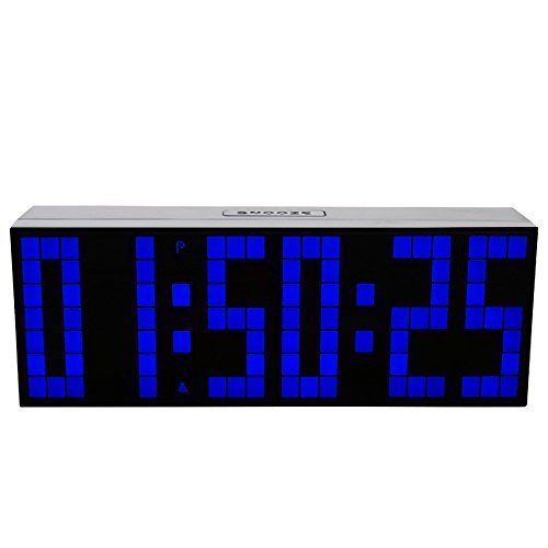 Led Big Screen Digital Wall Clock Dual Alarm Watch Thermometer Snooze Timer  Date