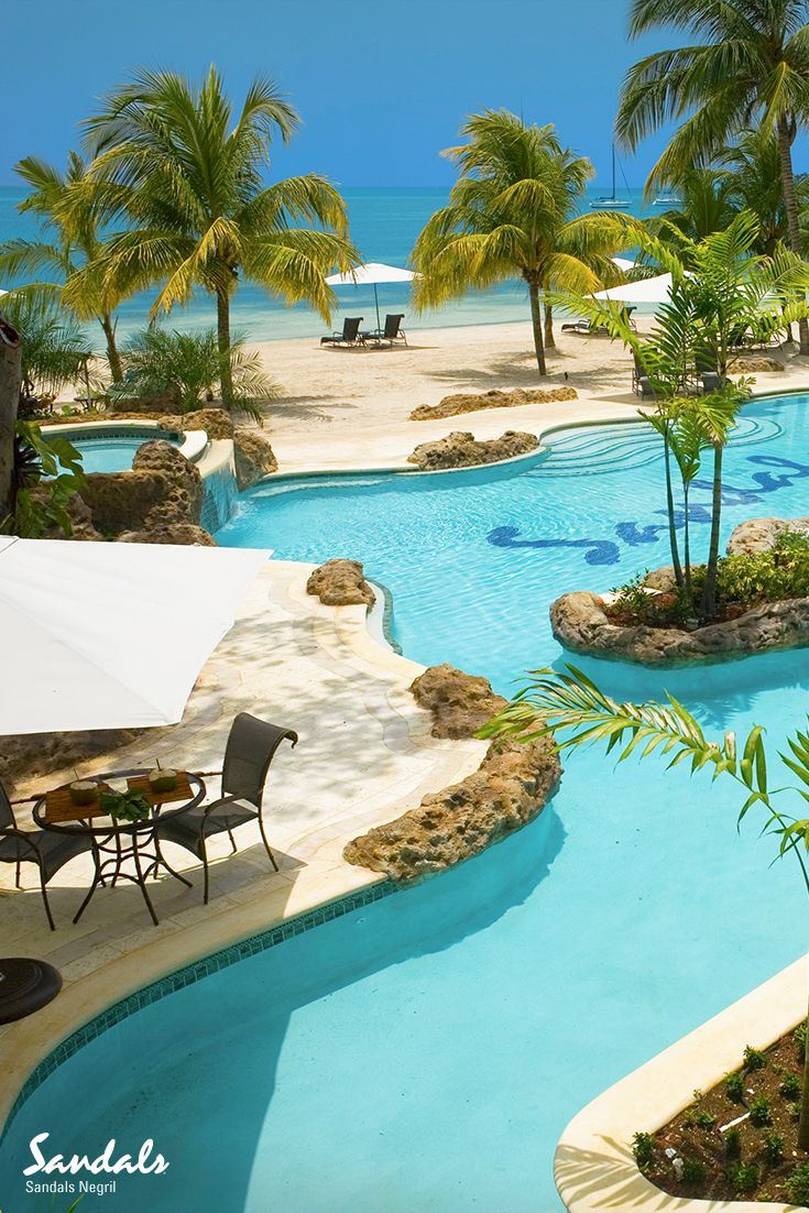 Where the pool meets the beach - Sandals Negril, Jamaica                                                                                                                                                                                 More