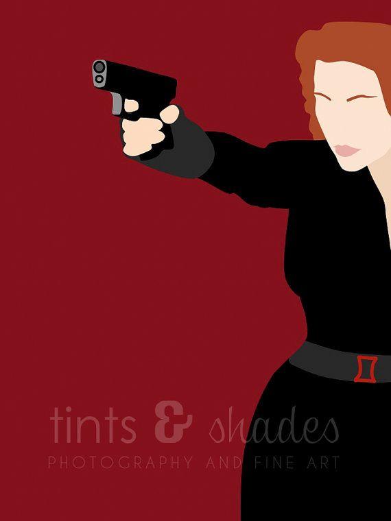 Black Widow 8x10 Minimalist Poster by TintsShadesFineArt on Etsy, $8.75