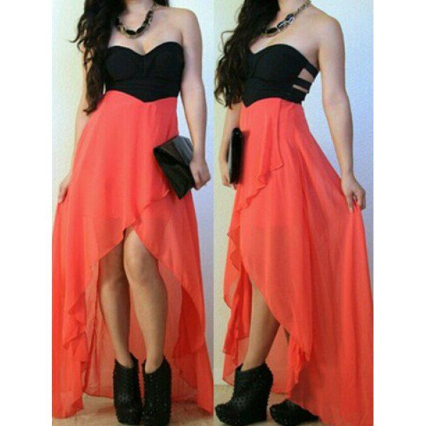 Asymmetrical Coral and Black Dress