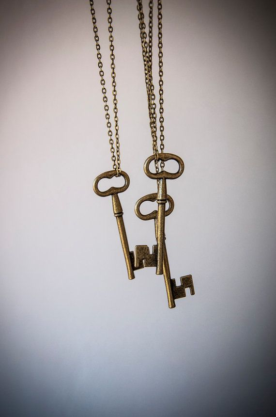 Long necklace with key pendant  antiqued style by SilviaWithLove, €7.50