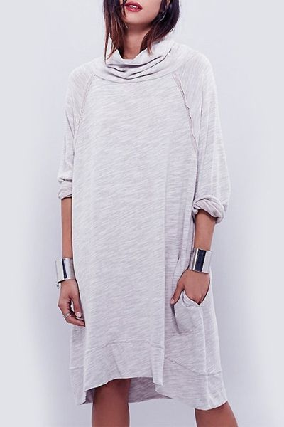 Heaps Collar Long Sleeve Loose Dress