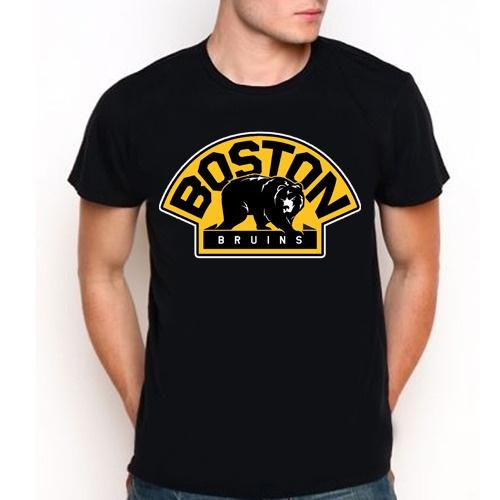 Nhl boston bruins hockey team bear logo custom black t for Boston bruins bear t shirt