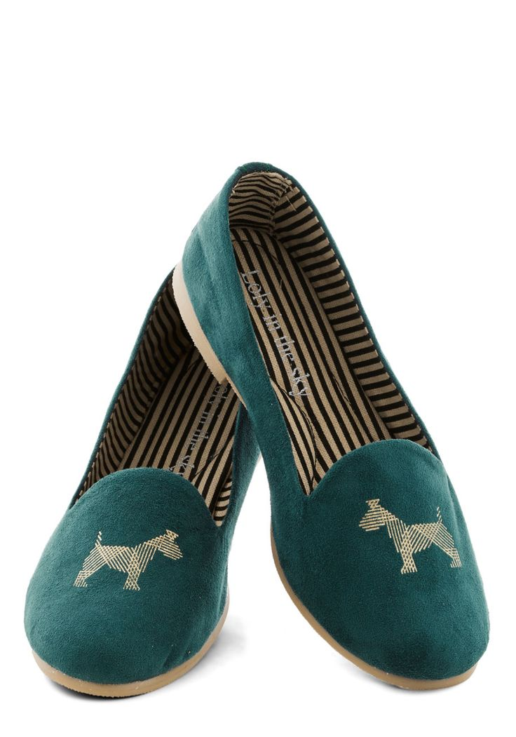 Tyke a Chance Flat. Well wager that youll find dozens of ways to wear these deep-teal Loly in the Sky flats with their adorable doggy detail upon each toe! #green #modcloth