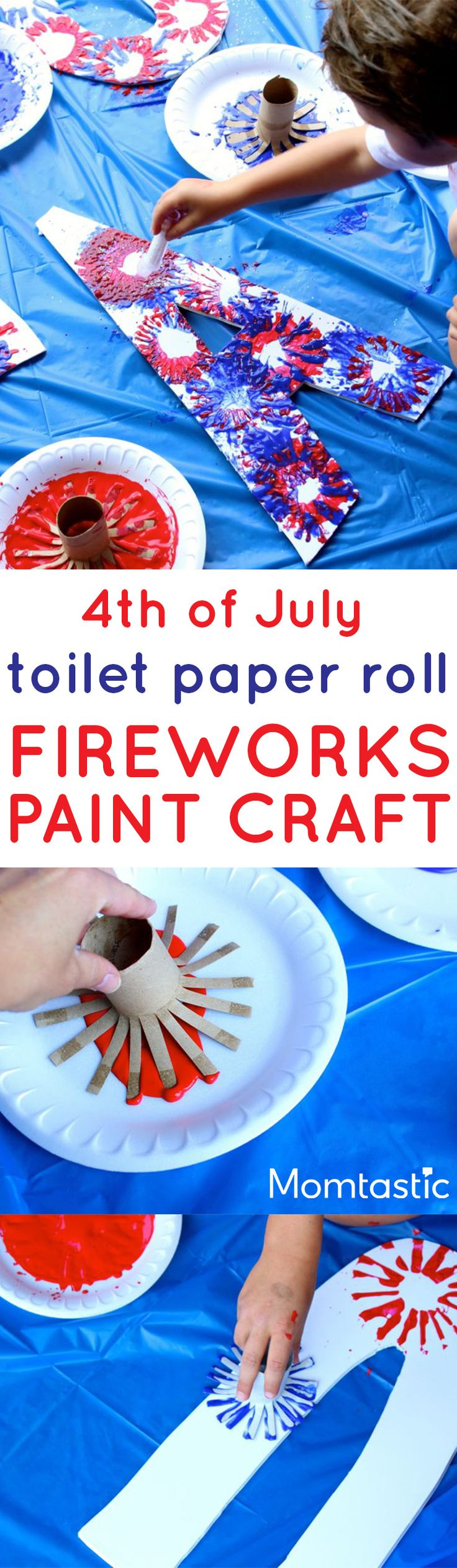 Recycle toilet paper rolls for this fireworks kids craft project - Spell out USA in honor of Independence Day! Love this easy afternoon craft project that takes barely any setup or materials.