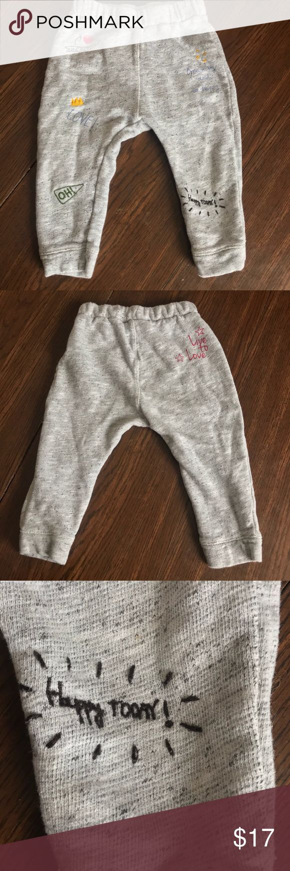 Zara Baby Girl Joggers Sweatpants w/embroidery Zara Baby Toddler joggers sweatpants in size 18-24 months. Unisex (they say Baby Girl but my son rocked em like nobodies business!!). EUC. No holes, stains, or defects. Minor wash wear. These pants are ADORABLE!! Have cute little sayings embroidered on them.   I have been the only owner of this item. I am not a consigner. Smoke free home. Please check out my other listings to bundle (and receive an automatic 10% discount!!), and save on…