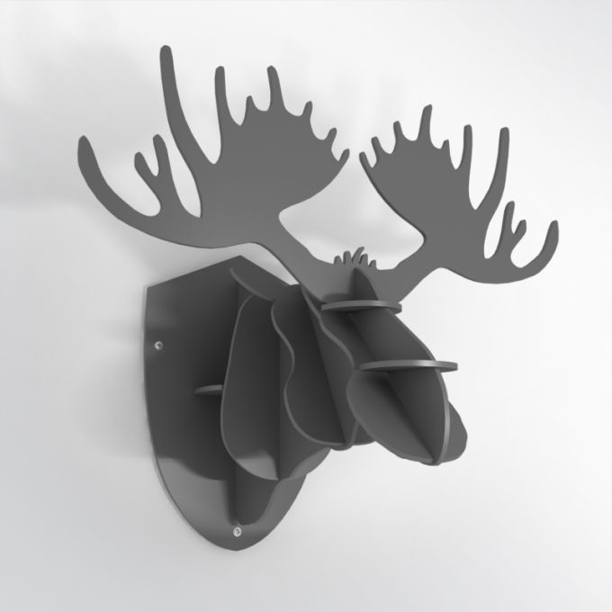 PVC Hunting Trophy - Grey Moose Antlers. Made from PVC foam, cnc cutted. Also available in baltic birch plywood. Designed and made in Québec, by dezz.xyz.