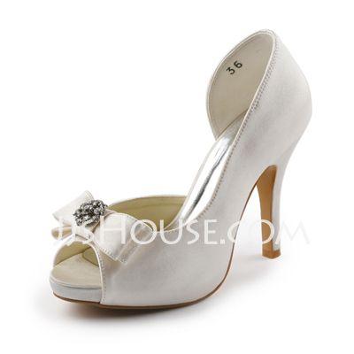 Wedding Shoes - $61.99 - Satin Stiletto Platform Pumps With Rhinestones For Wedding (047005327) http://jjshouse.com/Satin-Stiletto-Platform-Pumps-With-Rhinestones-For-Wedding-047005327-g5327