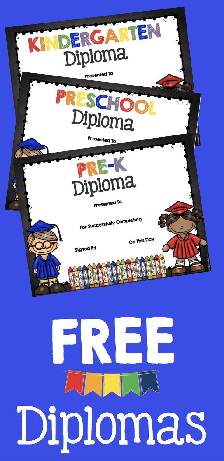 Adorable free graduation diplomas for preschool pre k kindergarten these make