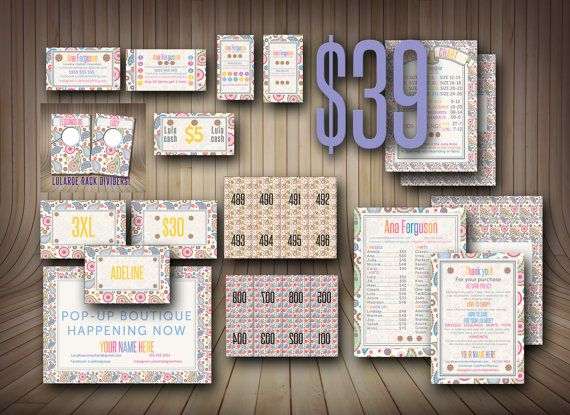 SALE! Marketing Kit, 18 Products! Clothing Cards, Punch Card, Size Cards,  fb cover, 2 Business cards. Kit. 18 Products!