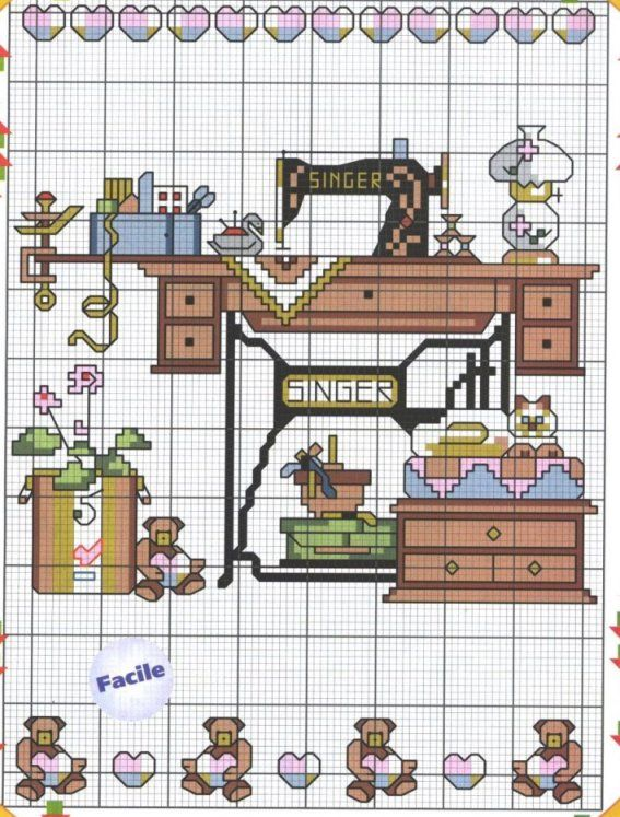 Cross-stitch Sewing Room ... no color chart available, just use the pattern chart as your color guide.. or choose your own colors...    Schema punto croce Cucito-e-ricamo-7