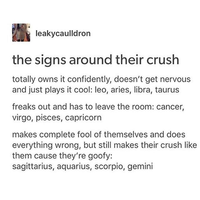The Signs around their crush @portraitdeyeol ™☽ the first accurate one<im board so pinning dis one too