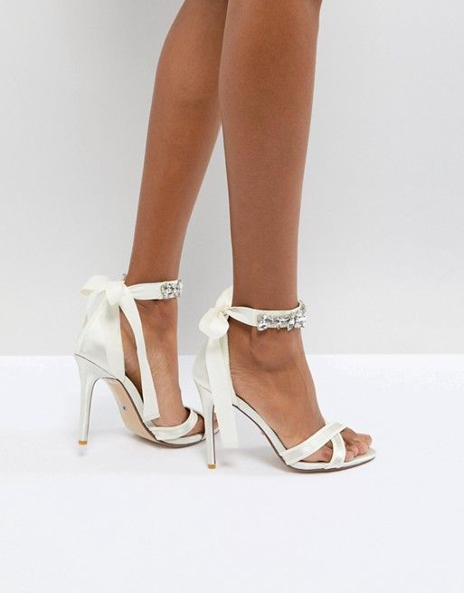 68c8bb2be72 Dune London Bridal Morgen Heeled Sandal with Gem Ankle Tie in 2019 ...