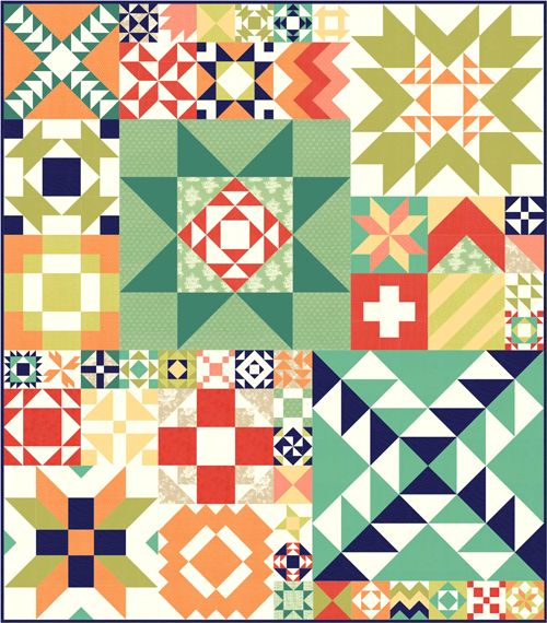 Fig Trees version of the Moda Modern Building Blocks Quilt/ Blocks range in size from 6-36 inches