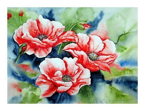 """Maria Inhoven, """"Mohnblüten im Wind"""" (38) Mit einem Klick auf """"Als Kunstkarte versenden"""" versenden Sie kostenlos dieses Werk Ihren Freunden und Bekannten."""